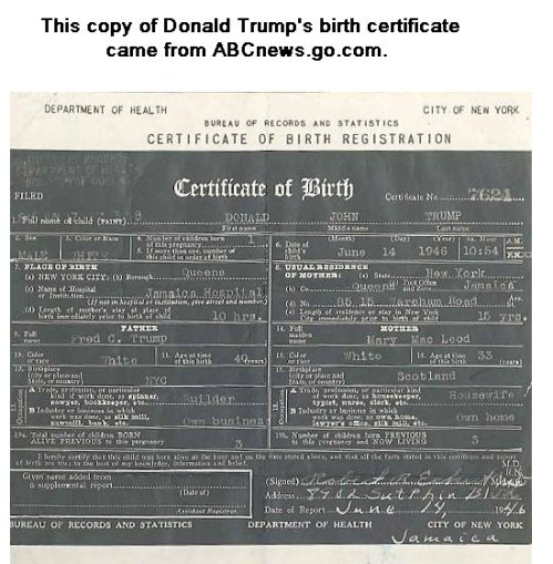 See Donald Trump's Official Birth Certificate and Chart